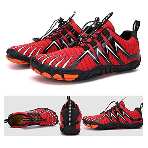 KUXUAN Zapatos de Senderismo para Hombres y Mujeres,Escalada en El Río,Ciclismo,Zapatos de Cinco Dedos,Bicicletas Transfronterizas,Calzado Deportivo Al Aire Libre,Red-46EU=(298mm)