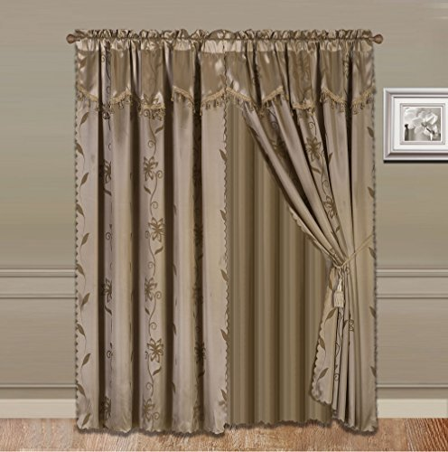 GorgeousHomeLinen 8-Piece Taupe Tan Nada Luxury Faux Jacquard Flower Design Panel, Rod Pocket Window Curtain Set Attached Valance, Panel, and Sheer- Includes 2 Tassels