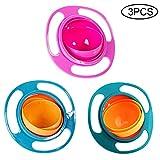 Homeng Gyro-Schüssel, um 360 Grad drehbar, kreative Snack-Schale, Übungs-Fütterschale, Universal-Gyro-Schalen für Kleinkinder, 3 Stück