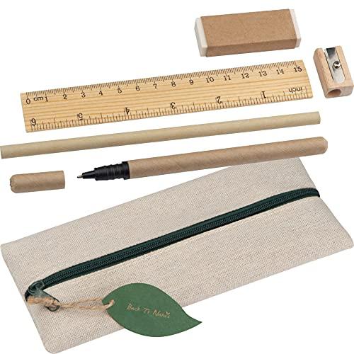Nachhaltiges Schreibset mit Lineal, Radiergummi, Spitzer, Bleistift und einem Kugelschreiber | Etui aus Baumwolle | befülltes Federmäppchen | für Schule, Uni oder Arbeit | Umweltfreundliches Set
