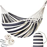 Double Portable Hammock - Patio Hammock Two Person Hanging Camping Bed for Patio, Backyard, Porch, Outdoor and Indoor Use - Soft Woven Cotton Fabric Hammocks with Portable Carrying Bag