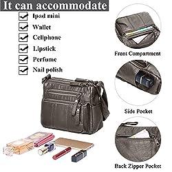 "Volcanic Rock Women Crossbody Bag Pocketbooks Soft PU Leather Purses and Handbags Multi Pocket Shoulder Bag (Antique Silver-8.5"")"