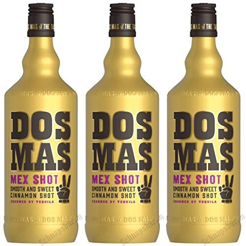 Dos Mas Mex Shot Zimtlikör verfeinert mit Tequila 700ml 3er Pack