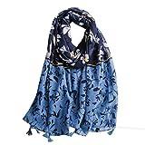 Ecroon Pañuelos Fular Foulard Mujer Bufandas Estampado Chales algodón Chal Estolas Pashminas Elegante Suave Bufanda Chal Cuello Tiras (N, One size)