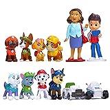 Caricatura Patrulla de Perros Pata Cake Topper Mini Juego de Figuras Niños Minifiguras Topper de Tarta Decoración Mini Juguetes Baby Shower Fiesta de cumpleaños Pastel Decoración Suministros 12 Piezas