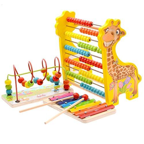 Jouets FEI, Perles perlées Early Education pour bébé Le développement de la propriété intellectuelle 1-3 Ans Wooden Enfants Début Éducation (Couleur : 4)