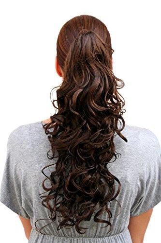 Postiche, tresse, bouclé, long, brunette/châtain (Teinte 6) 45 cm