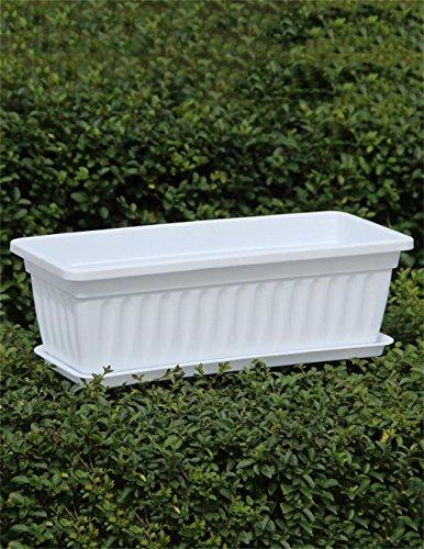 ZENGAI Pots de fleurs rectangulaires en résine, Pots de légumes, Pots de plantation verts, Jardinière de fleurs (Couleur : E, taille : 49*20*14cm)
