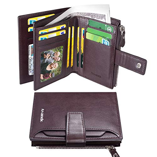 Herren Geldbörse, Leder Geldbörsen für Herren, Reißverschluss Seitentasche Kurze Geldbörse mit 1 Herausnehmbarem ID-Fenster und 2 SIM-Kartensteckplätzen (Kaffee)