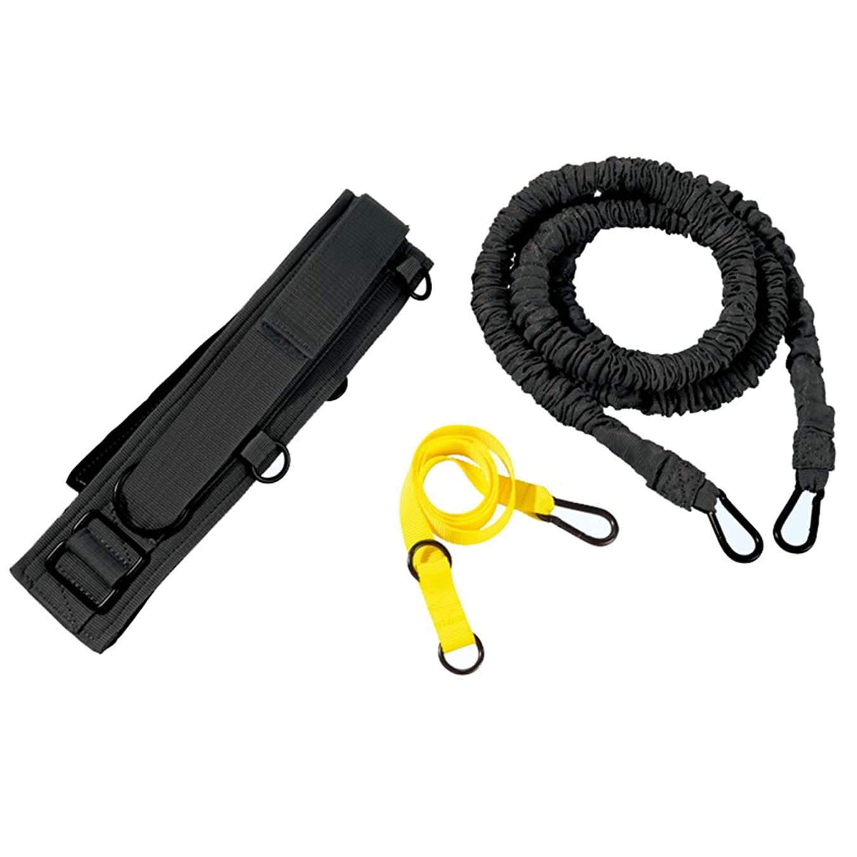 空満員漫画ダブル抵抗ロープ、強い負荷、物理的な訓練、陸上競技、爆発力、スプリントプル (色 : 黒)