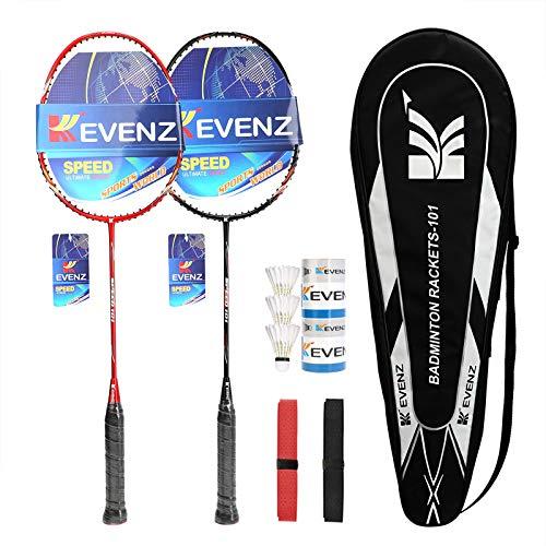 KEVENZ Badminton Racket Set, 2 Carbon Fiber Badminton Racquet, 3 Goose Feather Badminton Birdie, 2 Racket Grip and 1 Carring Bag