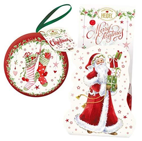 Heidel Weihnachtsset | Baumkugel | Geschenktüte Weihnachtsmann | Schokoladen-Pralinen | weiße Weihnacht