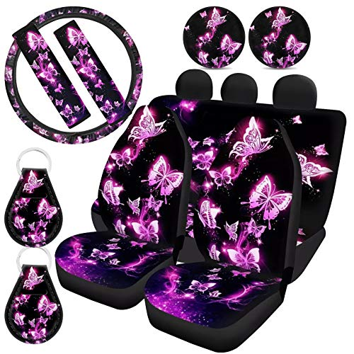 ZFRXIGN Pink Butterfly Car Seat Covers Girly Full Set for Women Gifts Universal Front and Rear Bench Back Seat Cover and Steering Wheel Covers, Cup Coaster, Keychians, Safety Belt Pads