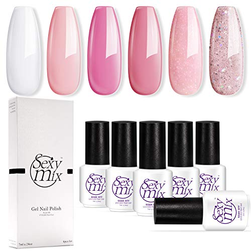 Sexy Mix Gel Nail Polish, 6 Colors Pink Collection Soak Off Nail Art Home Nail Gel Set 7ML Required Gel Base Top Coat Cured under Nail Dryer Lamp