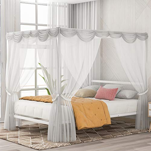 Queen Bed, Metal Queen Canopy Bed Framed Four Poster Platform Bed Frame/Strong Steel Mattress Support/No Box Spring Needed, White