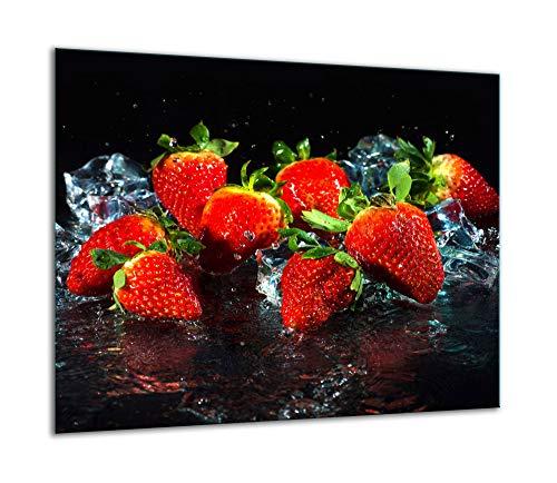 QTA - Placa protectora de vitrocerámica 60 x 52 cm 1 pieza cocina eléctrica universal para inducción protección contra salpicaduras tabla de cortar de vidrio templado como decoración Frutas