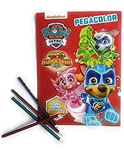 Paw Patrol Pinta y pega con Patrulla Canina Super Pegacolor Libro Para Colorear 12 Pegatinas Rojo