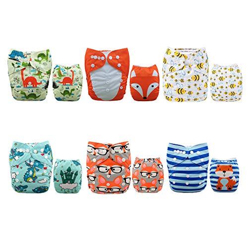 Alva Baby - Pañales de tela reutilizables (6 unidades), lavables, 6 unidades de pañales + 12 paños interiores Sets 6DM48 Talla:All in one