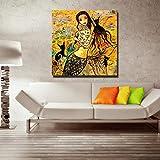 Pintura sin Marco Habitación para niños Hermosa decoración de Dormitorio de Pescado Pintura al óleo Sala de Estar Arte Lienzo decoración de paredAY4851 60X60cm