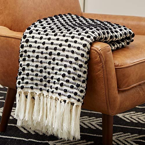 "Amazon Brand – Rivet Bubble Textured Lightweight Decorative Fringe Throw Blanket, 48"" x 60"", Black and Cream"