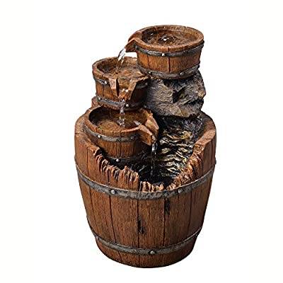 """Peaktop 201610PT Vintage Pump & Barrel Outdoor Garden Water Fountain, 33"""" Height, Dark Wood"""