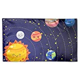 Viplili Banderas Bandera del jardín Set of Doodle Cartoon Icons Planets Outdoor Seasonal and Holiday Yard Flag Banner 3x5 Foot