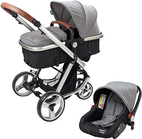 ib style® ELEGANCE 3 in 1 Kinderwagen | inkl. Auto-Babyschale | Buggyfunktion | 0-15kg | Grau