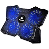 KLIM Wind Laptop Cooling Pad - Support 11 to 19 Inches Laptops, PS4 - [ 4 Fans ] - Light, Quiet Rapid Cooling Action - Ergonomic Ventilated Support - Gamer USB Slim Portable Gaming Stand - Blue