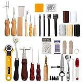 CloverStar Juego de herramientas para cuero, 62 piezas, artesanía martillo cuero el procesamiento fabricación bricolaje la