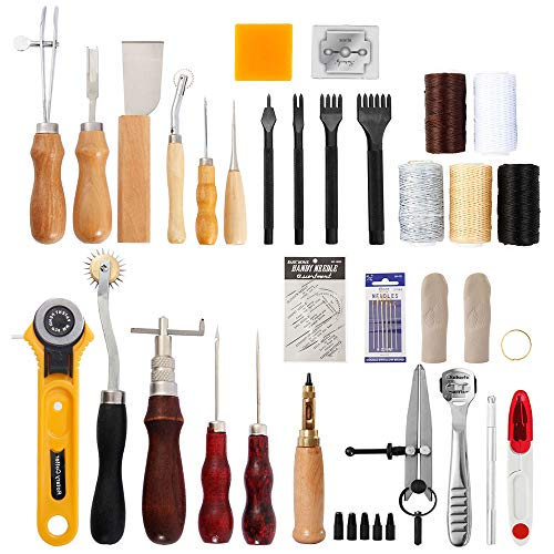 CloverStar Leder Werkzeug Set, 62Stk Lederhandwerkzeug, Leder DIY Set Lederhandwerk Werkzeuge Lederhammer für die Lederverarbeitung, Lederherstellung, DIY für das Lederhandwerk