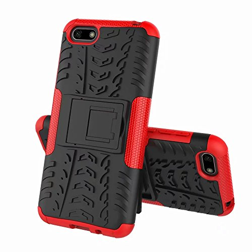 Cover Huawei Y5 2018, XIFAN [Tough Armor Series] Robusto Pannello Posteriore PC Antigraffio + Antiurto TPU Dual Layer Armour Ibrida Custodia, Rosso