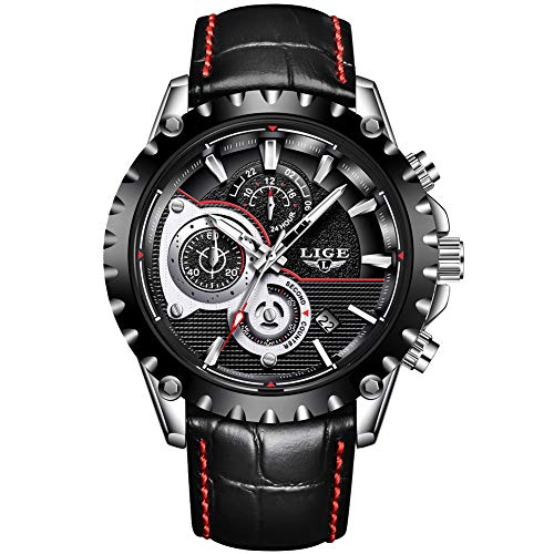 LIGE Uhr Herren Mode Wasserdichtes Lederarmband Sport Militär Chronograph Datumskalender Top Marke Analog Quarz Armbanduhr Schwarz