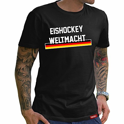 HARIZ Eishockey Weltmacht Deutschland // Original T-Shirt - Schwarz, XS-4XXL // Germany | Pyeongchang | Trikot | Medaille | Icehockey #Eishockey Deutschland Collection Black XS