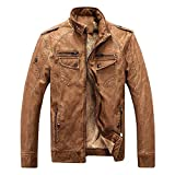HUABEI PU Leather Clothing - Autumn and Winter Men's Jacket Leather Plus Velvet - Casual Washed Vintage Leatheraa-1brownaa-1XXXL Z1