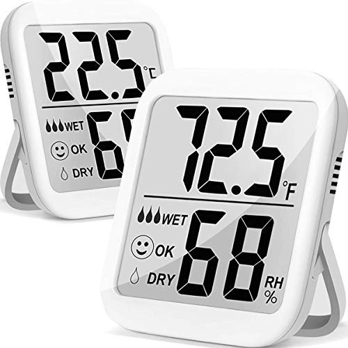 Humidity Gauge, 2 Pack Max Indoor Thermometer Hygrometer Humidity Meter Humidity and Temperature Monitor with Dual Sensors for Room, Baby, Pet Reptile, Plant, Greenhouse, Basement, Humidor, Guitar