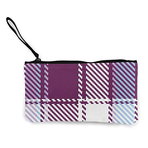 Yuanmeiju Unisex Coin Pouch Check Canvas Coin Purse Cellphone Card Bag with Handle and Zipper