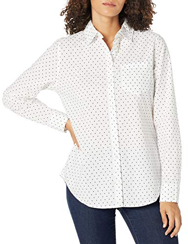 Amazon Essentials Women's Classic-Fit Long Sleeve Button Down Poplin Shirt, White Dot, M