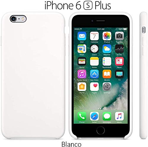 Funda Silicona para iPhone 6 Plus y 6s Plus Silicone Case, Calidad, Textura Suave, Forro Interno Microfibra (Blanco)