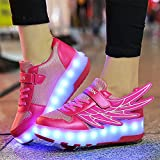 XCBW 7 Colors LED Light Up Wheel Shoes for Kids for Children, with Angel Wings Retractable Technical Double Wheel Skateboarding Rollerblades for Unisex,39