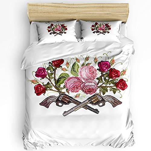 wanxinfu 3 Piece Duvet Cover Set Full Size for Adults, Boys, Girls, Kids, Lightweight and Soft Bedding, Knitted Colored Roses Brushed Microfiber Quilt Cover Set, Revolver with Transparent Bottom