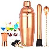 Faiza Juego de coctelera de cobre rosa, kit de barmender de acero inoxidable de 24 onzas, variador, cuchara mezcladora, jigger, 2 vertedores de licor, kit de barman portátil, set de martini por Faiza