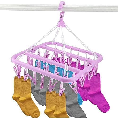 YuKeShop Tendedero de ropa interior 32 clips plegable percha secadora a prueba...