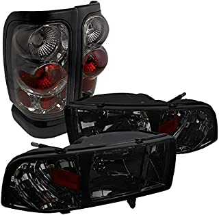 For Dodge Ram Euro Smoke Tinted Crystal Head Lights+Tail Brake Lamps
