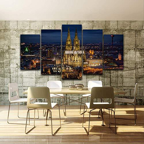 DGGDVP Wall Art Canvas Painting Poster Wall Pictures 5 Panel Cathedral Nightscapepara la Sala de Estar Decoracion para el hogar Imagenes modulares Tamano 2 con Marco