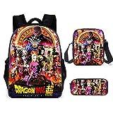 GFDSH Mochilas Escolares Juveniles PortáTil para NiñOs NiñAs Mochila Dragon Ball mochila escolar de tres piezas 2