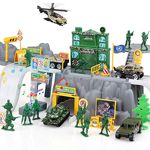 TOY Life Army Men Toys for Boys and Girls - Military Toys for 3 4 5 6 7 Year Old Kids - Army Play Set 12 Plastic Army Men and 5 Die Cast Metal Military Vehicles - Helicopter Tank Trucks and Tracks