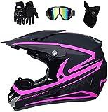 YXLM - Casco de motocross para adulto, accesorio para motocross, incluye guantes, guantes de moto/máscara, cascos de motocross, niño, casco integral BMX, negro y rosa (M)