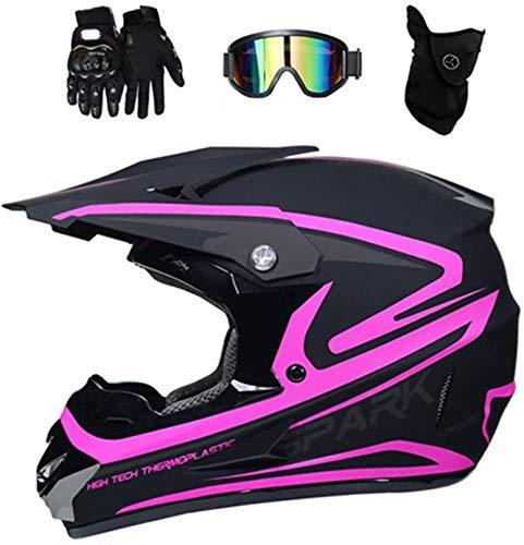 YXLM Casco cross adulto motocross Accessorio moto cross con occhiali/guanti da moto/maschera, caschi motocross per bambini casco integrale BMX MTB quad bike enduro, nero e rosa (S)