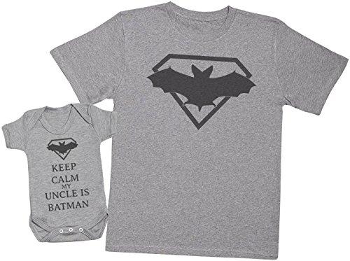 Keep Calm My Uncle is Batman - Ensemble Père Bébé Cadeau - Hommes T-Shirt & Body bébé - Gris - X-Large & 6-12 Mois