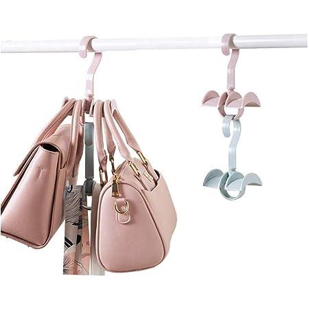 ネクタイ ハンガー ハンドバッグ用ハンガー ネクタイ収納 ハンガー かばん かばんかけ ベルトハンガー 360°回転 8個セット (ランダムな色)